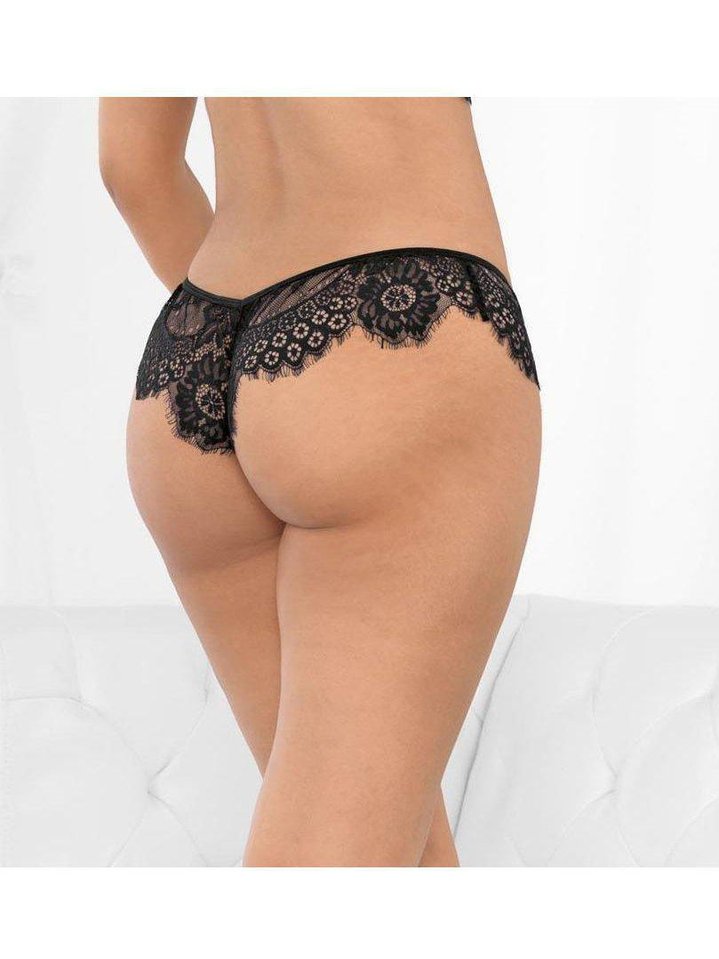 Escante 61115 Glamour Eyelash Lace Boyshort-panty-Escante-S-Black-SatinBoutique