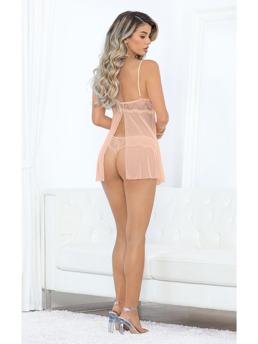 Escante ES-39592  Peachy Hi-Neck flyaway back Baby Doll  and matching panty Escante