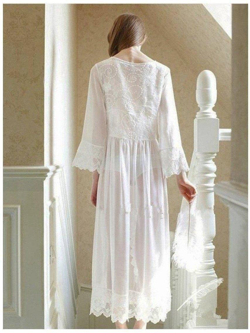 Sexy Long White Lace Vintage Princess Medieval Nightgown European-style Palace Robe SatinBoutique
