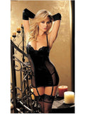 Shirley of Hollywood IS-SOH-20351 Vine Pattern Jacquard Gartered Chemise, Black, S IS-Shirley of Hollywood