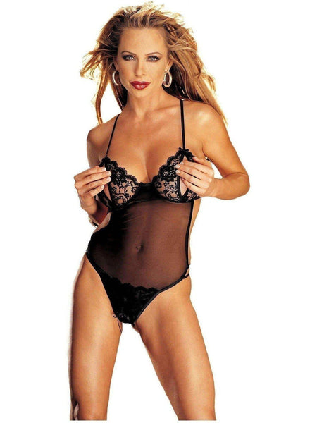 Shirley of Hollywood IS-SOH-96836 Mesh Peek-A-Boo bez rozkroku Teddy Black O / S IS-Shirley of Hollywood