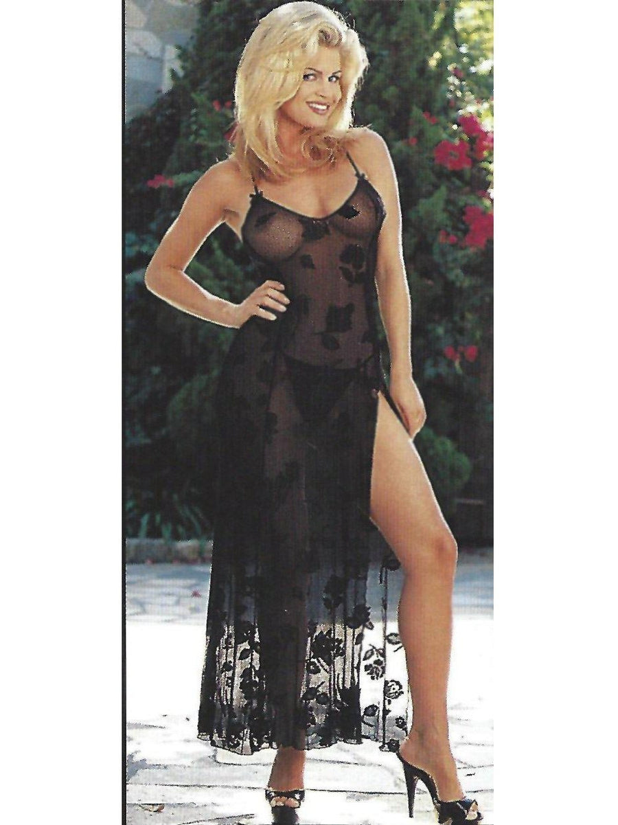 Shirley von Hollywood IS-SOH-3449 Sexy und schlanke transparente Blumenspitze Langes Kleid-LINGERIE-Shirley von Hollywood-SatinBoutique