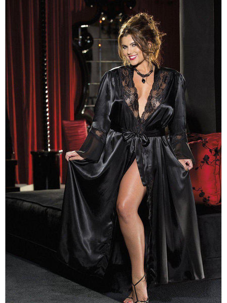 Shirley of Hollywood SOH-X20559 ELEGANTE, SEXY, CHARMEUSE, PIZZO E CHIFFON, VESTAGLIA LUNGA-LINGERIE-Shirley of Hollywood-Black-1X2X-SatinBoutique