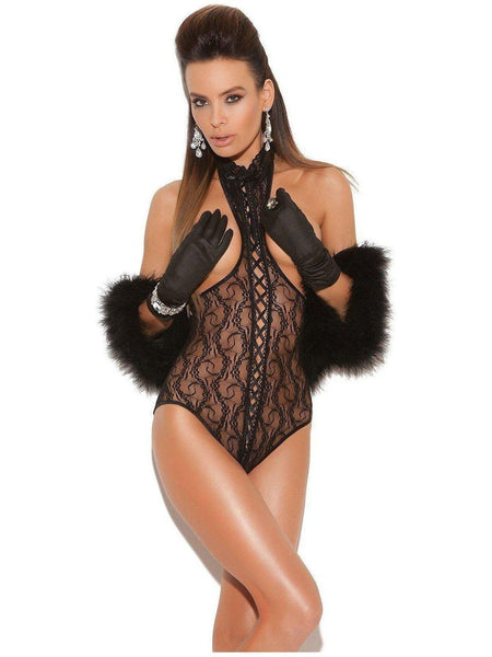 Vivace EM-8743 Lace cupless teddy with pits in front and open back Elegant Moments
