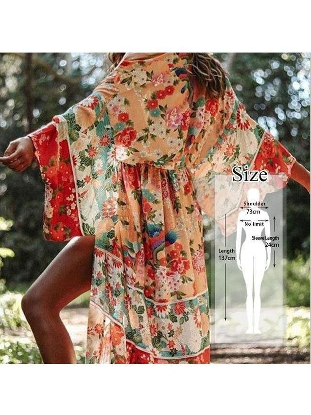 Woman's Cover-up Bohemian Printed Chiffon Tunic Long Cardigan, many styles/colors SatinBoutique