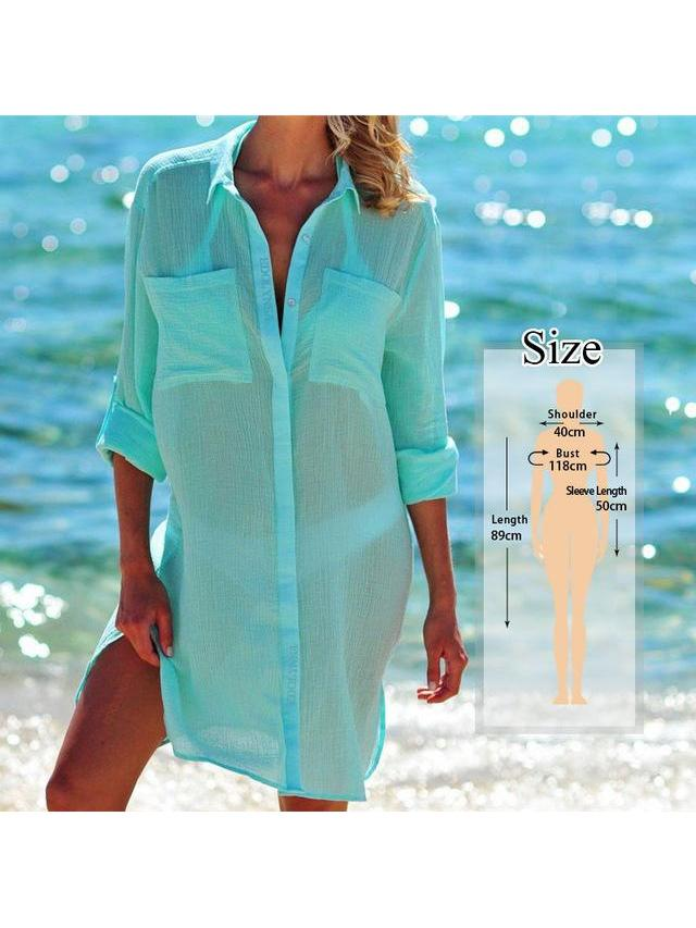 Women's Beach Wear Cover-ups White Cotton Tunic SatinBoutique