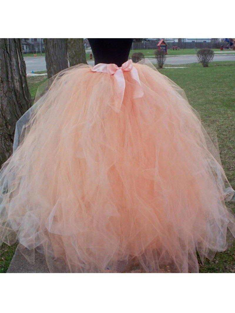 Women's Handmade floor-length Fluffy Tulle Skirt with ribbon tie waist SatinBoutique