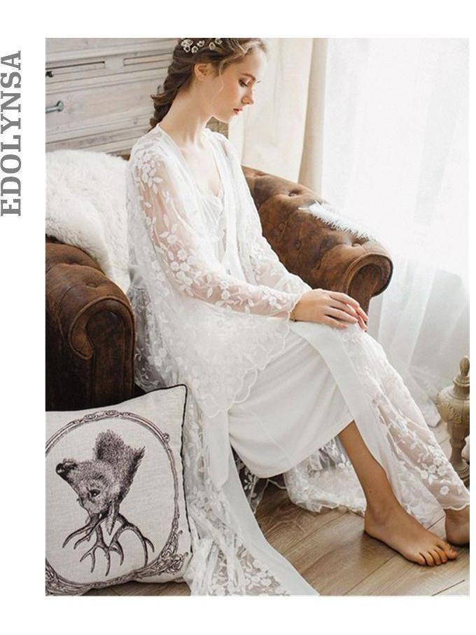 Women's Luxury Vintage Princess Style Nightgown and Long Negligee Robe Set SatinBoutique