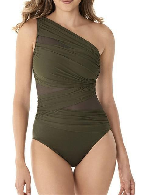 Women's One Shoulder Sexy One Piece Monokini Swimsuit SatinBoutique