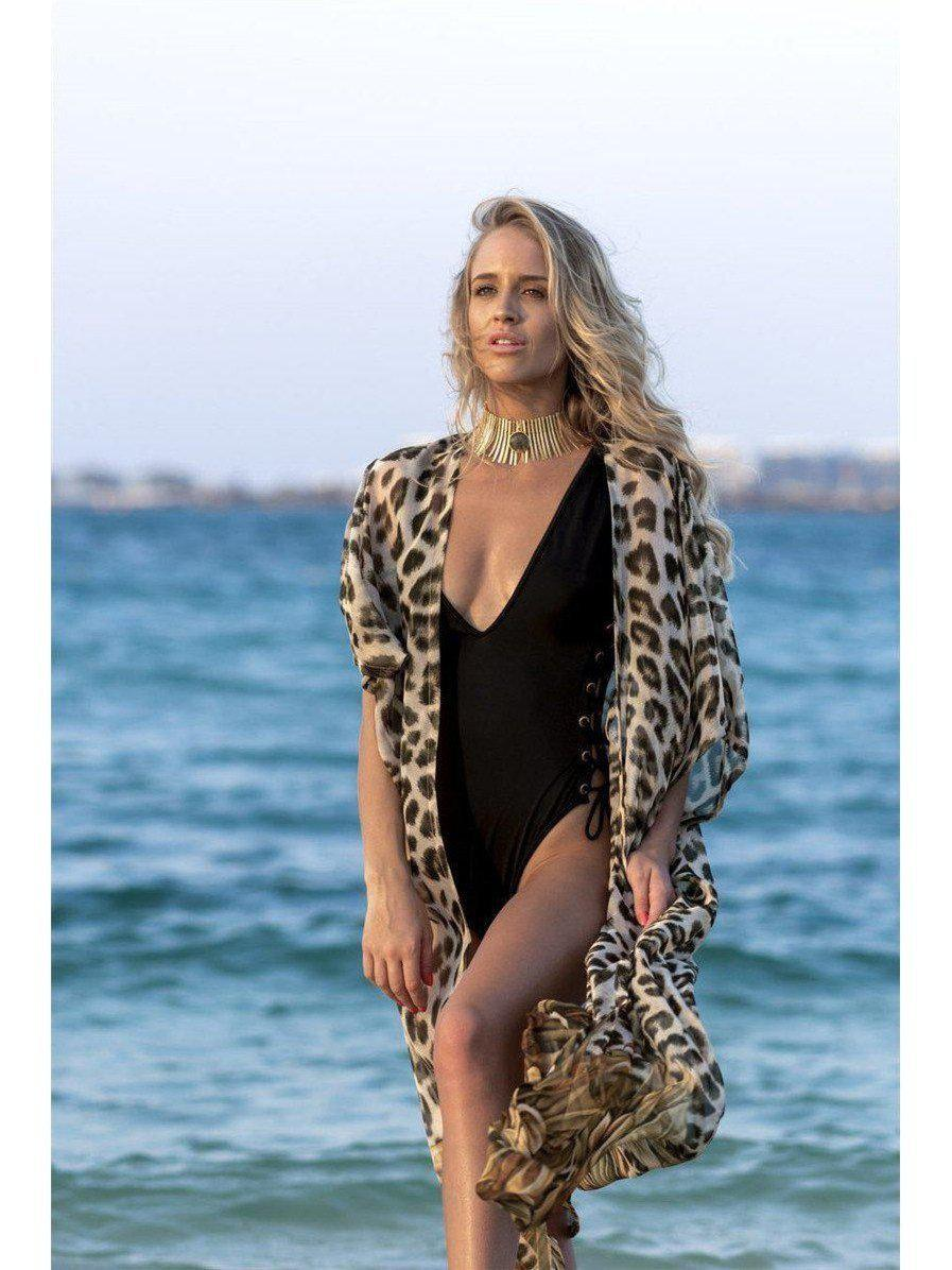 Women's Sexy Bohemian Leopard  print Long Cardigan Chiffon Cover-up SatinBoutique