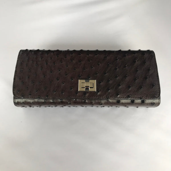 Chocolate Brown Ostrich Clutch with Silver Closure