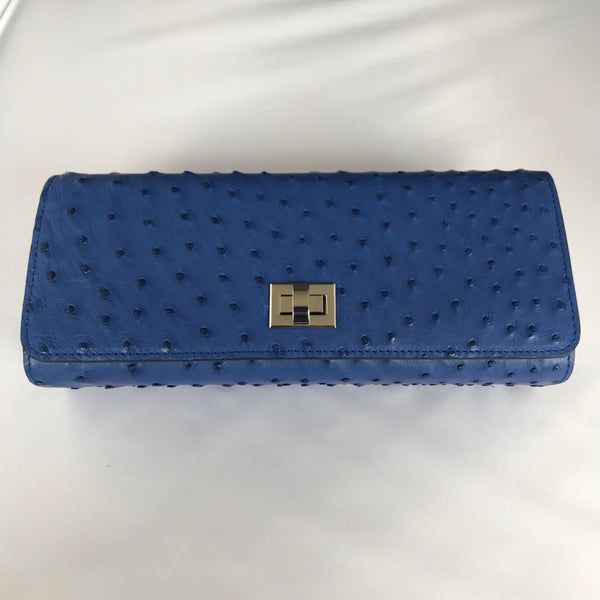 Cobalt Ostrich Clutch with Silver Closure