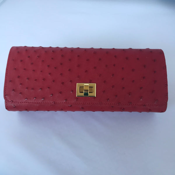 Crimson Ostrich Clutch with Gold Closure