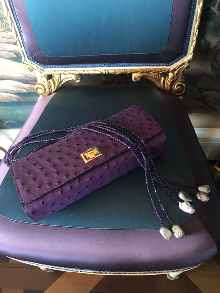 Ostrich clutch plum with silver or gold hardware