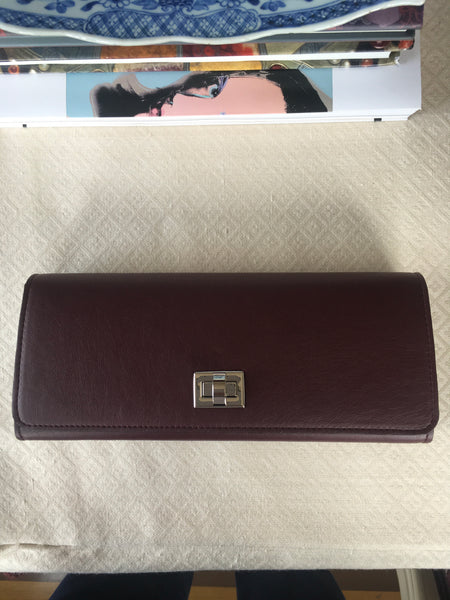 100% Vegan Burgundy Clutch with Silver Closure