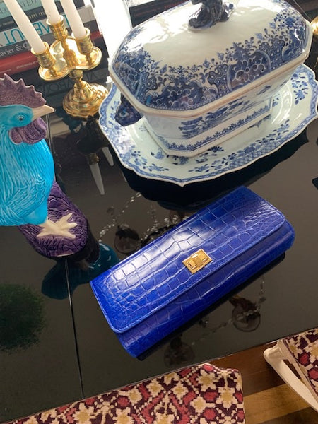 Cobalt Blue semi glazed Croc with Gold Closure
