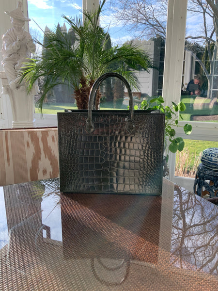 Olive Alligator CB Shopping Tote