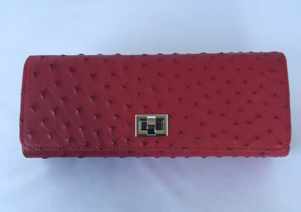 Crimson Ostrich Clutch with Silver Closure