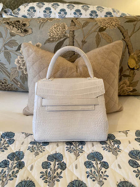 White Alligator Mini Tote with silver or gold cross body chain