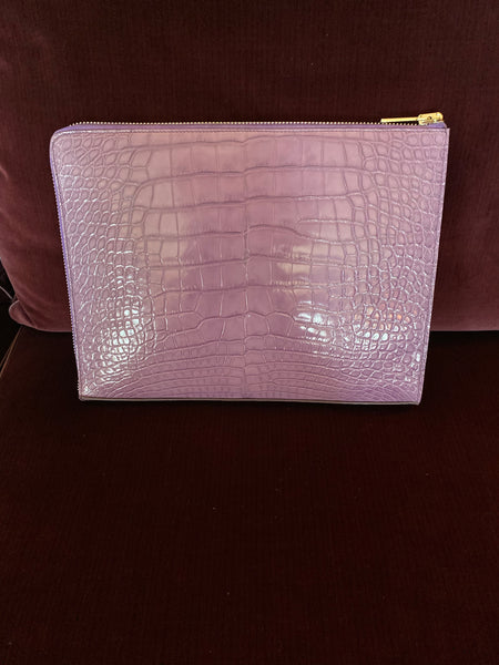 Lavender Croc Portfolio/iPad case with Silver Zipper