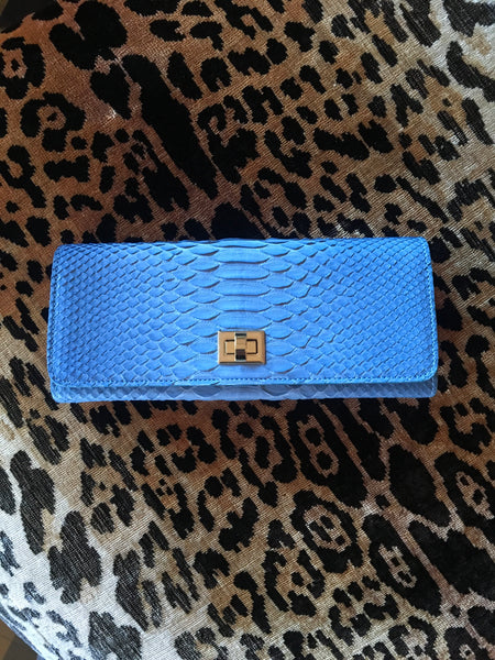 Light Blue Python with Gold Closure