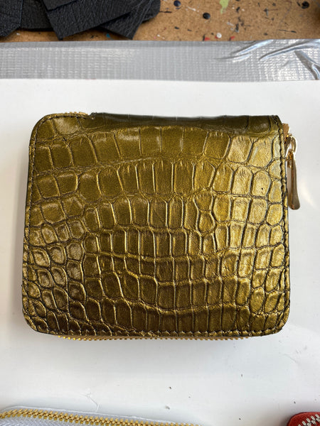 Mini Zip Wallet in Gold Alligator