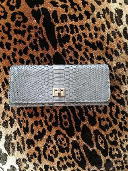 Light Grey Python with Silver Closure