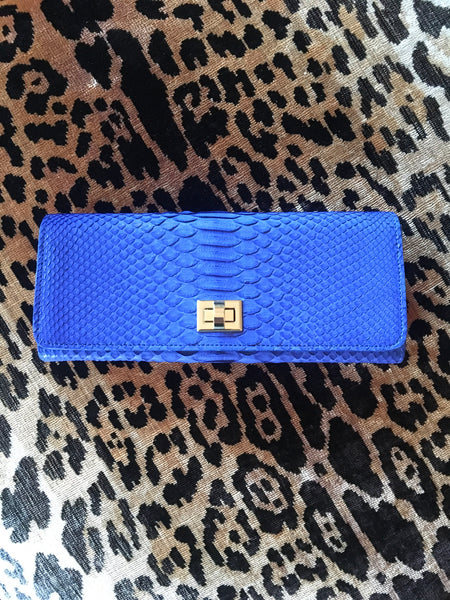 Cobalt Blue Python with Gold Closure