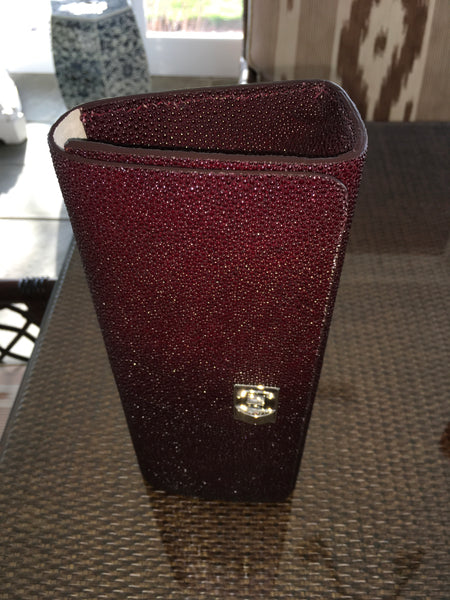 Burgundy Shagreen Silver Closure