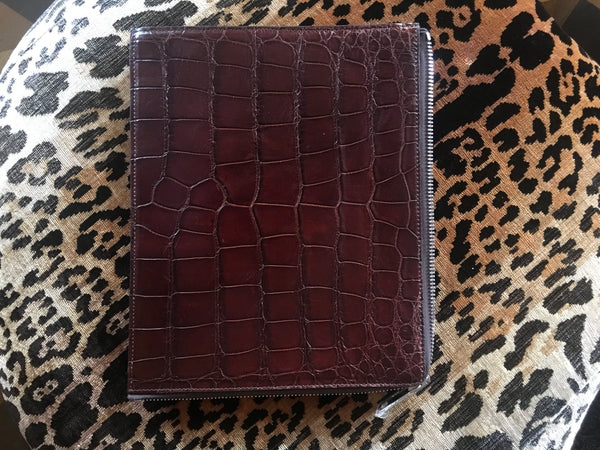 Portfolio Envelope with Silver Zip in Brown Alligator