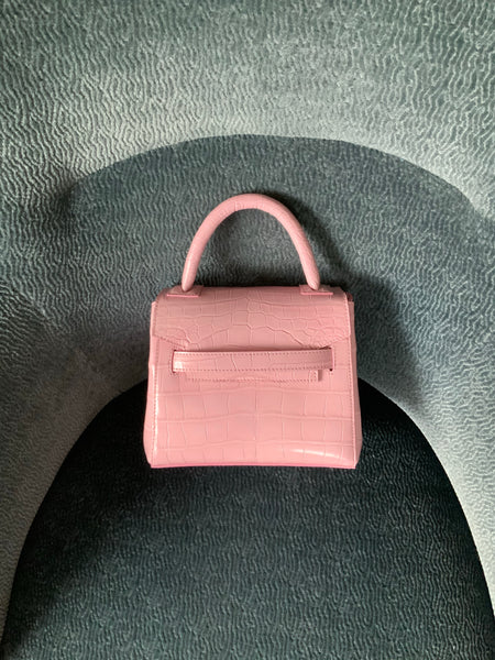 Light pink alligator mini with gold or silver cross-body chain