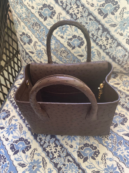 2 handle tote in brown ostrich
