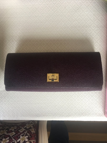 Burgundy Shagreen with Gold Closure