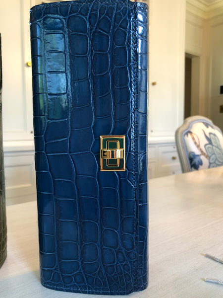 Teal Blue glazed Alligator with Gold Closure