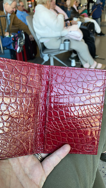 Red Glazed alligator passport/wallet