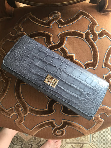 Light Grey/Blue Matte Croc with Silver Closure