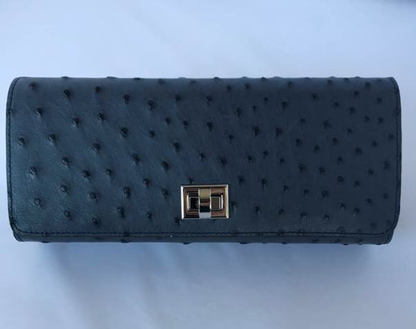 Gun Metal Blue Ostrich with Silver Closure