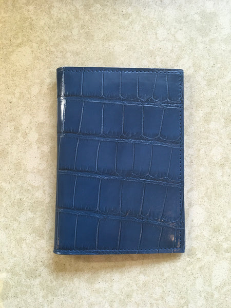 Passport Wallet in Teal Blue Alligator