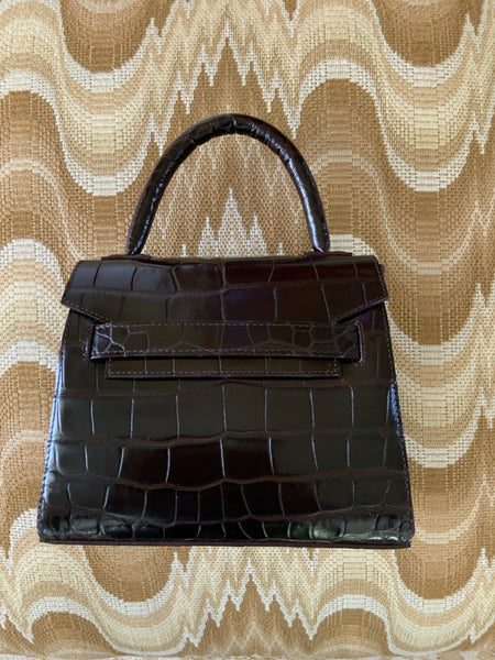 Brown Alligator Mini Tote
