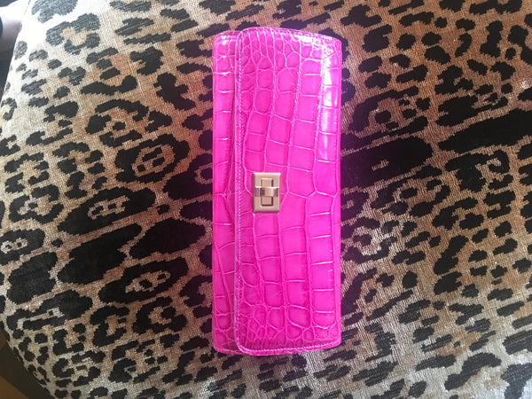 Pink Glazed Croc with Gold Closure
