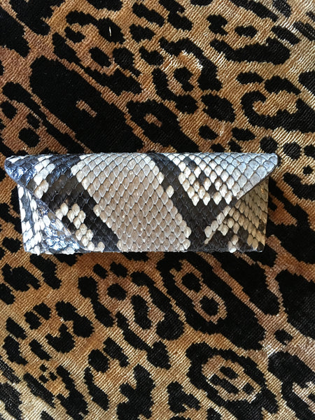 Dark Natural Python Glasses Case