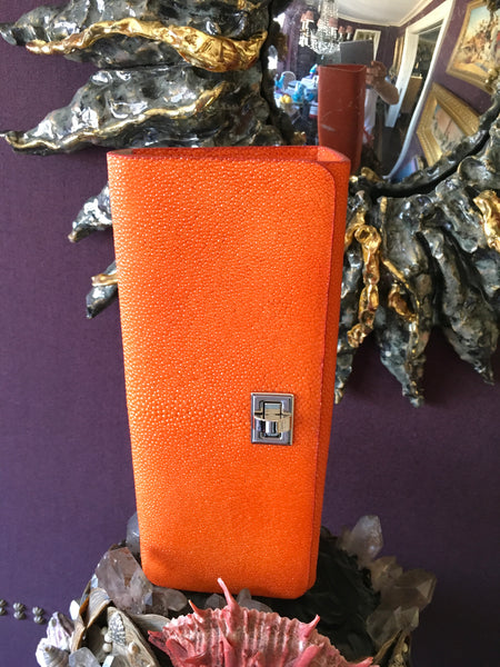 Orange Shagreen with Silver Closure