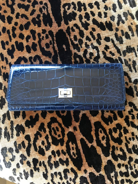 Navy Semi Glazed Croc with Silver Closure