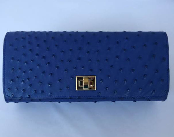 Cobalt Ostrich with Gold Closure