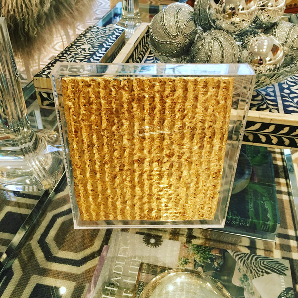 24 kt gold leafed matzo in plexiglass signed 1 of 18 by Judi Harvest