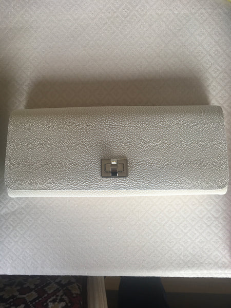 White Shagreen with Silver Closure
