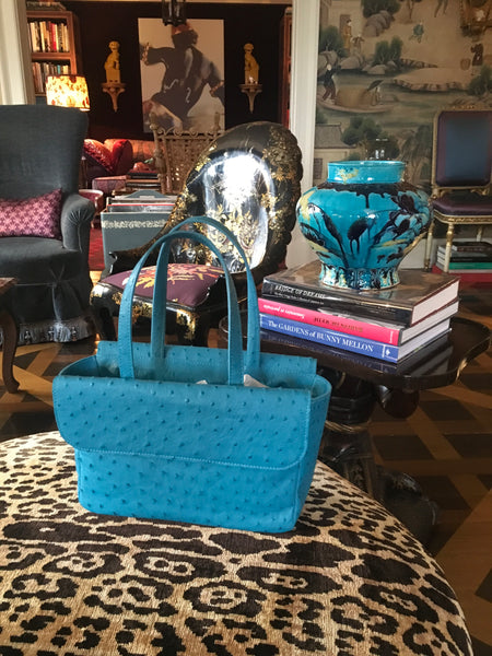 Turquoise Ostrich Tote