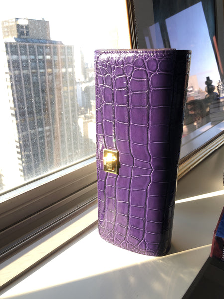 Purple Glazed Croc with Gold Closure