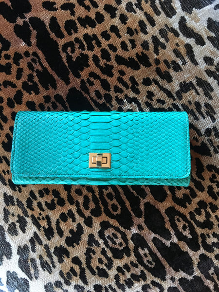 Aqua Green Python with Gold Closure