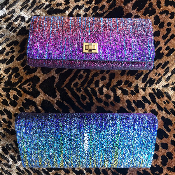 Multi Colored Shagreen with Gold Closure